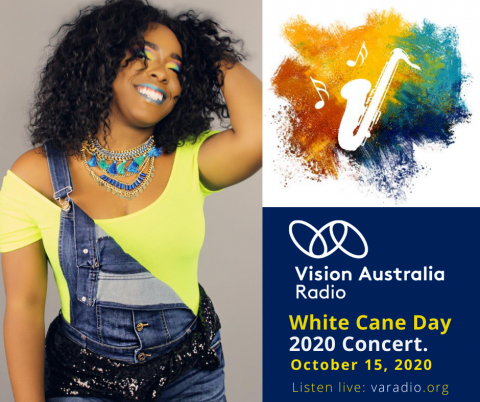 Photo of Shayy Winn with text: Vision Australia Radio logo. White Cane Day 2020 Concert October 15 2020