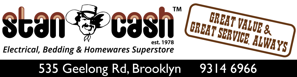 "Logo -> Words ""Stan Cash"" around a man with a cowboy hat."