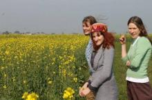 Ellen and two fellow volunteers in a field of yellow flowers